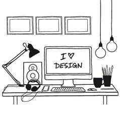 Design studio mock up vector