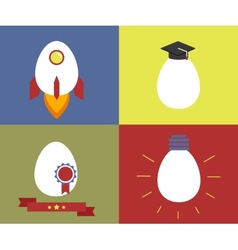 Square icons with egg as rocket knowledge vector