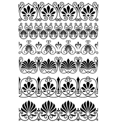 Vintage black and white ornamental borders vector