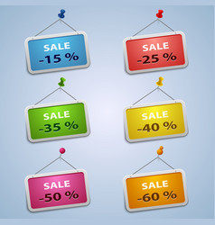 Colorful labels with pins sale discount template vector