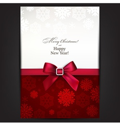 Greeting card with red bow vector