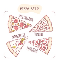 Collection of different hand drawn pizza slices vector