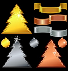 Gold silver bronze christmas trees vector