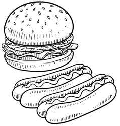 Doodle burger hotdog vector