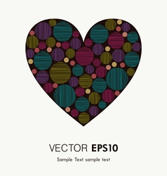 Bright colorful heart with striped rounds for vector