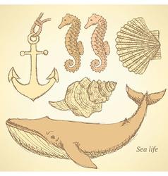 Sketch sea creatures in vintage style vector