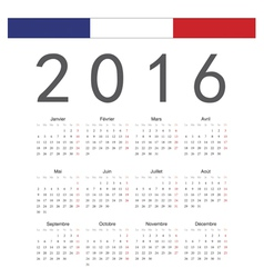 French square calendar 2016 vector