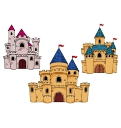 Medieval castles with towers and flags vector