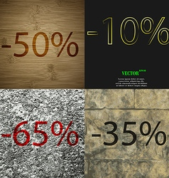 10 65 35 icon set of percent discount on abstract vector