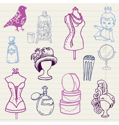 Set of fashion hand drawn doodles vector
