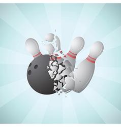 Bowling ball smashing pins vector