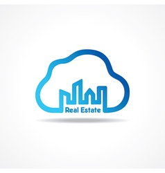 Creative city building icon attach with cloud vector