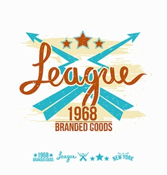 League emblem girls print and design elements vector