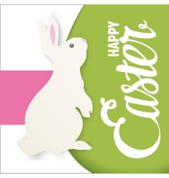 Happy easter lettering greeting card with bunny vector