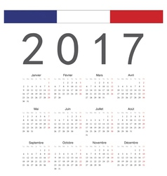 French square calendar 2017 vector