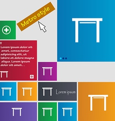 Stool seat icon sign metro style buttons modern vector