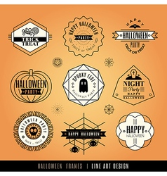 Collection of halloween labels and frames vector