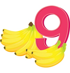 Nine ripe bananas vector