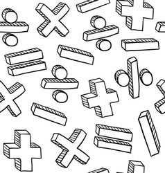 Doodle math pattern seamless vector