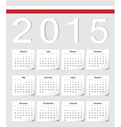 Polish 2015 calendar with shadow angles vector