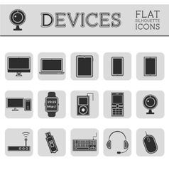 Trendy silhouette pc computer mobile gadgets and vector