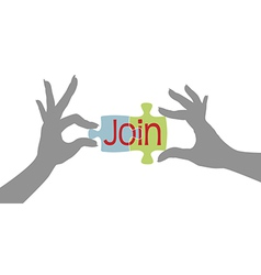 Member hands join together puzzle vector