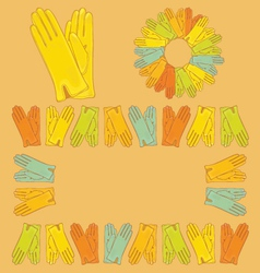 Set of colored gloves vector