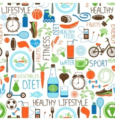 Sport diet and fitness pattern vector