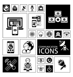 Communication icons black vector