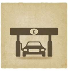 Car at gas station old background vector