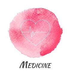 Medicine heart pulse watercolor concept vector