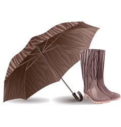 Umbrella and rubber boots vector