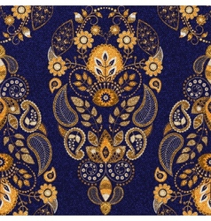 Golden and blue floral seamless pattern vector