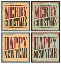 Vintage style christmas tin signs - christmas card vector