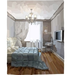 Luxury bedroom interior vector