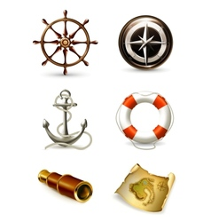 Marine set high quality icons vector
