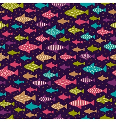 Bright hand drawn seamless background with fishes vector