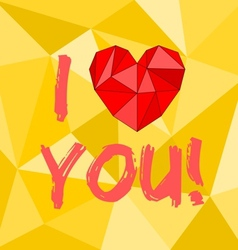 I love you heart with yellow background vector