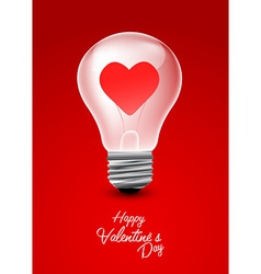 Light bulb with heart valentine day background vector