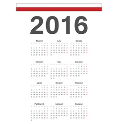 Simple polish 2016 year calendar vector