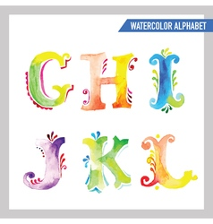 Watercolor alphabet - abc painted letters g-l vector