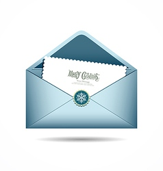 Blue envelope letter merry christmas white card vector