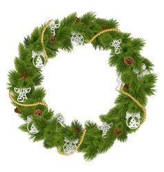 Christmas wreath with decorations vector