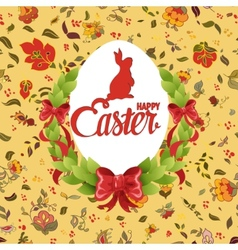 Happy easter ornate lettering floral greeting card vector