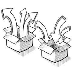 Doodle boxes arrows upload download vector