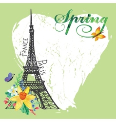 Paris vintage spring cardeiffel towerwatercolor vector