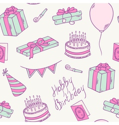 Doodle birthday party seamless pattern vector