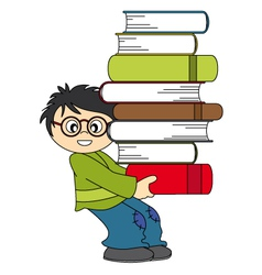 Child with a lot of books to study vector