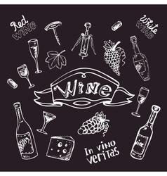 Wine set on chalk board vector