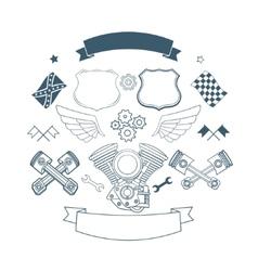 Set of biker label elements vector